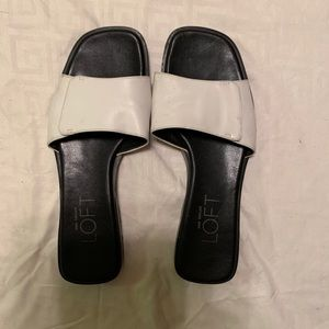 Ann Taylor Loft white slip on sandals